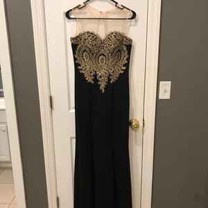 Floor Length Black and Gold Ballgown